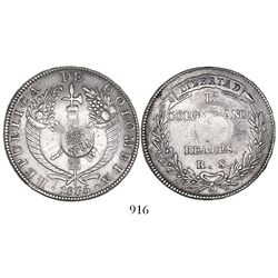 "Philippines (under Spain), 8 reales, Isabel II, crowned ""Y.II."" countermark (1834-37) on a Bogota, C"