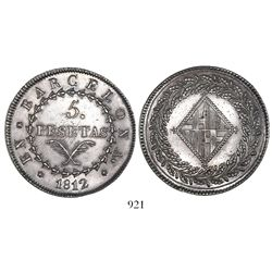 Barcelona, Spain, 5 pesetas, 1812.