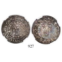 Sweden, 1 ore, 1603, encapsulated NGC XF details / bent.