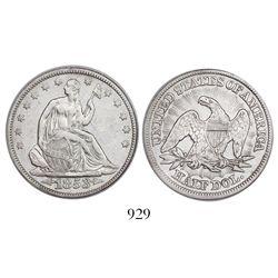 USA (Philadelphia mint), half dollar seated Liberty, 1853, arrows and rays, encapsulated NGC shipwre