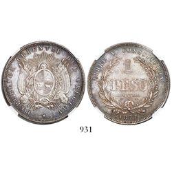 Uruguay, 1 peso, 1877, encapsulated NGC AU 58.