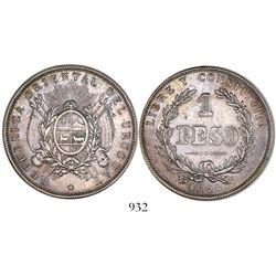Uruguay (struck in Buenos Aires), 1 peso, 1893.