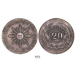 Uruguay, copper 20 centesimos, 1843/40.