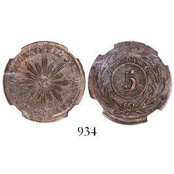 Uruguay, copper 5 centesimos, 1854/40, encapsulated NGC AU 58 BN.