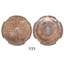 Uruguay, bronze 1 centesimo, 1869H, encapsulated NGC MS 64 RB.