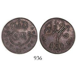 Caracas, Venezuela, copper 1/4 real, 1817, small date.