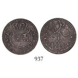 Caracas, Venezuela, copper 1/4 real, 1818.