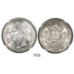 Venezuela, (2 bolivares), 1936, encapsulated NGC MS 62.