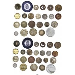 Lot of 24 Cuban tokens, various materials, mostly 1900s, some rare.
