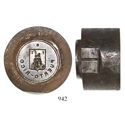 Steel die for a Castaner Hermanos 2-reales coffee token (early 1900s?), very rare.
