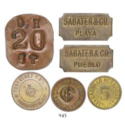 Lot of 6 copper/brass Puerto Rican tokens, various companies and denominations, 1900s.