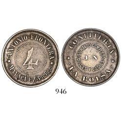 """Puerto Rico, silver token, Antonio Frontera / Mayaguez around """"4"""" in center, Confiteria En La Bolsa"""