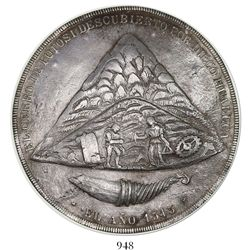 Potosi, Bolivia, large silver uniface medal, ca. 1840, commemoration of the discovery of the Potosi