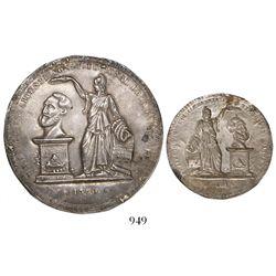 "Bolivia, silver uniface ""cliché"" (trial strike) of large President Belzu medal, 1850, unique, ex-Der"