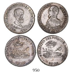 Lot of 2 Potosi, Bolivia, silver 2-soles-sized medals, 1863, President Acha (two different busts), e