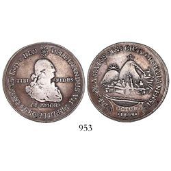 Popayan, Colombia, 2R-sized silver proclamation medal, Ferdinand VII, 1808.