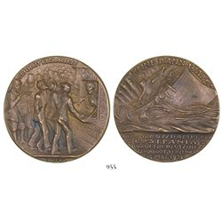 "Germany, bronze medal for the sinking of the Lusitania on ""5 Mai 1915"" (error date), with designer's"