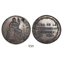 Mexico, silver 4R-sized medal, 1843, Constitution.