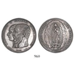 Mexico, silver 50c-sized medal, Maximilian and Carlotta, 1865, restoration of the Order of Guadalupe