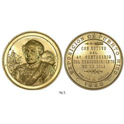Puerto Rico (under Spain), gold-colored bronze medal, 1893, first place prize at an exposition for t