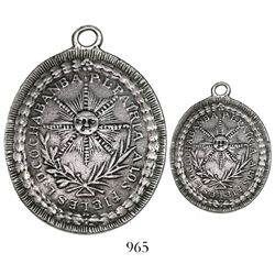 Potosi, Bolivia, oval silver uniface military decoration, 1825, liberation of Cochabamba, very rare,