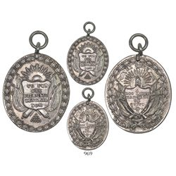 Lima, Peru, double-sided oval silver military decoration commemorating the liberation of Quito in 18
