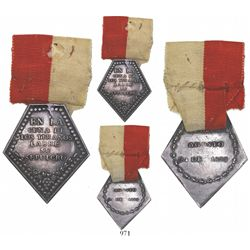 Zepita, Peru, silver 5-sided military decoration with original ribbon, 1823, very rare.
