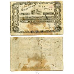 Brazil (Empire), Banco Commercial e Agricola uniface certificate for 500 mil reis (1858-1862), redee