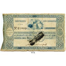 Brazil (Empire), National Treasury uniface certificate for 50 mil reis, personified Agriculture and