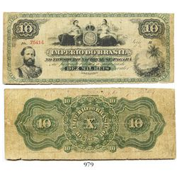 Brazil (Empire), National Treasury banknote for 10 mil reis, young portrait of Pedro II at bottom le