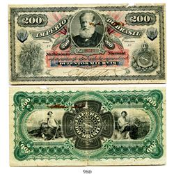 Brazil (Empire), National Treasury banknote for 200 mil reis, older portrait of Pedro II at upper ce