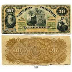 Brazil (Empire), National Treasury banknote for 20 mil reis, portrait of Pedro II at left, estampa 7