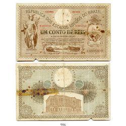 Brazil (Republic of the United States of Brazil), Caixa de Conversao (Rio de Janeiro) banknote for 1