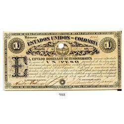 Bogota, Colombia, Estado Soberano de Cundinamarca, uniface 1 peso banknote, dated February 9, 1870,