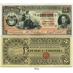 Colombia, Banco Nacional, 5 pesos banknote, dated March 4, 1895, Series A, number 1475794.