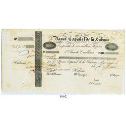 Cuba, Banco Espanol de la Habana, non-denominated certificate of deposit, no date (ca. 1857), first