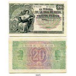 Cuba, El Tesoro de la Isla de Cuba, 20 pesos banknote, 1891, number 62799, unsigned type.