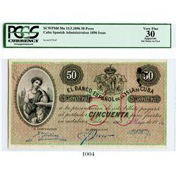 Cuba, El Banco Espanol de la Isla de Cuba, 50 pesos banknote, 1896, number 37047, encapsulated PCGS