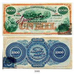 Mexico, Banco de Londres, Mexico y Sud America, 1000 pesos specimen banknote, no date (1867-72), num