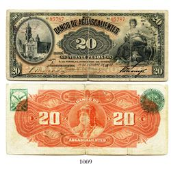 Mexico, Banco de Aquascalientes, 20 pesos banknote, 1902, Series A, number 05787.