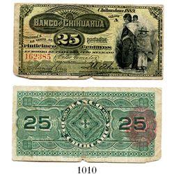 Mexico, Banco de Chihuahua, 25 centavos banknote, 1889, Series A, number 162385.