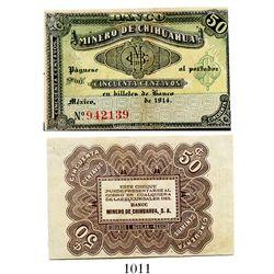 Mexico, Banco Minero de Chihuahua, 50 centavos banknote, 1914, number 942139, rare.