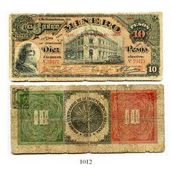 Mexico, El Banco Minero (Chihuahua), 10 pesos banknote, 1910, Series V.3, number 73477.