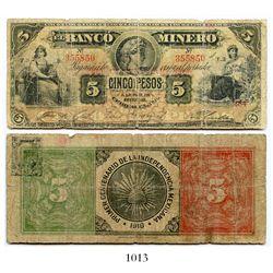 Mexico, El Banco Minero (Chihuahua), 5 pesos banknote, 1910, Series T.3, number 355850.