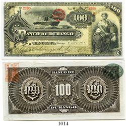 Mexico, Banco de Durango, 100 pesos banknote, small size, 1914, Series H, number 2368.