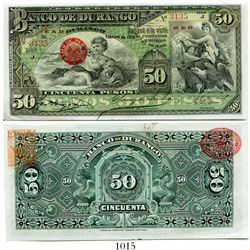 Mexico, Banco de Durango, 50 pesos banknote, small size, 1914, Series J, number 3135.