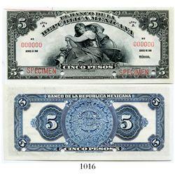 Mexico, El Banco de la Republica Mexicana, 5 pesos specimen banknote, no date (1918), Series 1 (ABNC