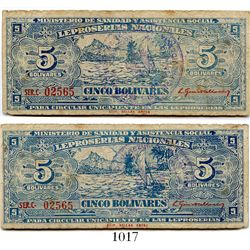 Venezuela, Leproserias Nacionales, 5 bolivares banknote, Series C (1940), number 02565.