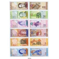 Venezuela, Banco Central, matched denomination set of 100-50-20-10-5-2 bolivares, dated March 20, 20