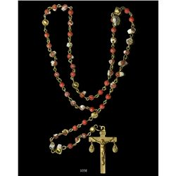 Gold and red-coral rosary, complete and intact  from 1715 Fleet.